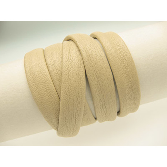Nappa cord stitched without cotton core Ø8x4mm - light beige