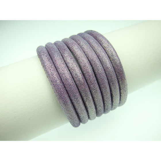 Leather brocade effect, rd. stitched Ø4,0mm - pastel violet