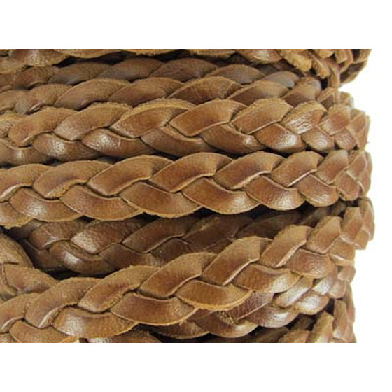 Leather flat braided 7,5x3,5mm - light brown