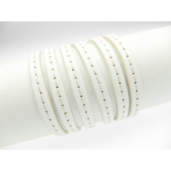 Leather lace with stitching 5,0 x 2,0mm - white