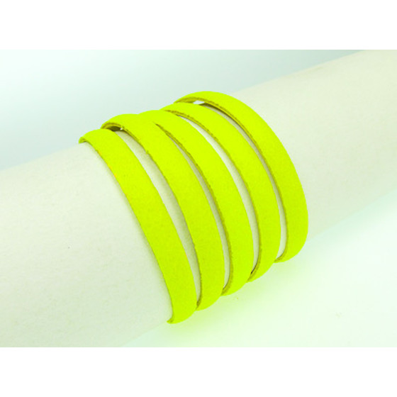 Flat leather lace Ø5,0 x 2,0mm - yellow (neon)