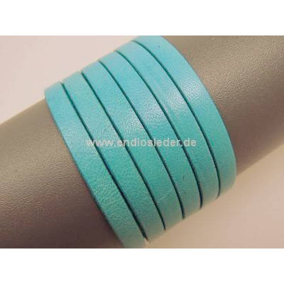 Flat leather lace Ø5,0 x 2,0mm - pastel turquoise